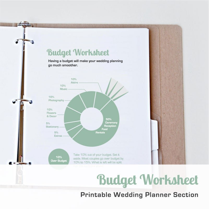 Printable Wedding Budget Worksheet Printable Wedding Planner