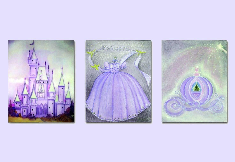 Princess Wall Art Disney inspired Cinderella Art Purple