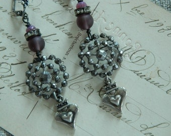 SALE use coupon code Spring10 for 10% OFF Dangle Assemblage Earrings Hearts Vintage Upcycle Button Sterling Silver Hearts