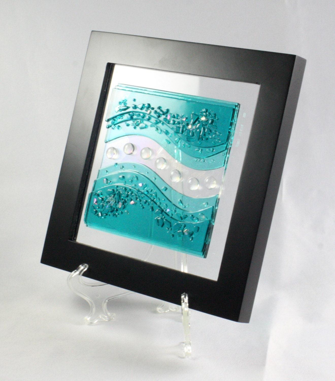 Wall Art Fused Glass : Fuse glass wall art caribbean blue waves