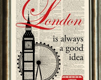 LONDON Quote Print - vintage image printed on a late 1800s Dictionary page Buy 3 get 1 FREE