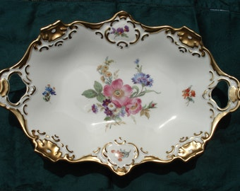 Alka Kunst Bavaria Meissen West German Floral Elongated Bowl or Tray