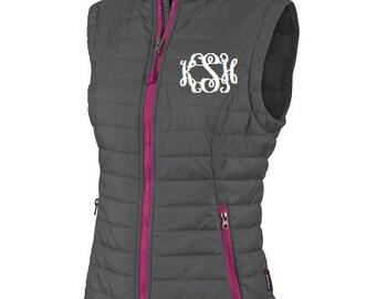 Monogrammed Vest, Monogrammed Puffy Vest, Quilted Vest, Monogrammed Outerwear
