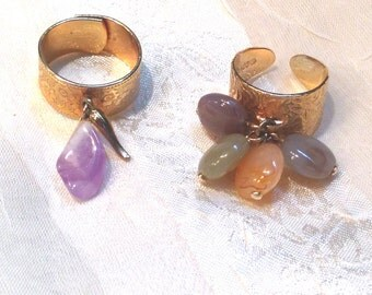Vintage Adjustable Rings With Dangling Gemstones & Charms Estate Jewelry c. 1990s