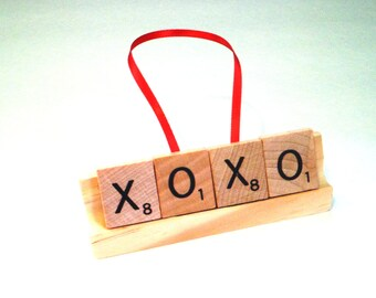 XOXO Ornament, Scrabble Ornament,Scrabble Tile Gift, Hugs and Kisses, Scrabble Letter Art, Love Ornament, Bridal Shower Favor, Wedding Gift