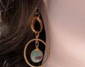 Oh So Pretty Ruby Fuschite Gold Hoop Earings