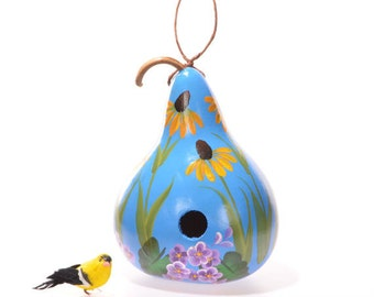 Painted yellow daisy flowered gourd birdhouse, natural gourd birdhouse, decorative gourd art, home decor