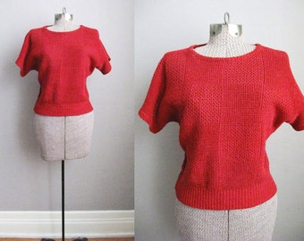 1970s Vintage Sweater Red Top Rodier Short Sleeve Slouchy Checker Open Weave / Medium