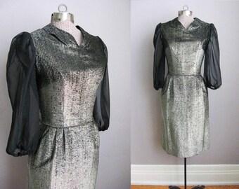 1950s Vintage Cocktail Dress Gold Black 50s Wiggle Dress Sheer Long Sleeves / XS