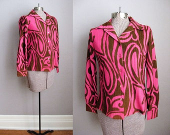 1960s Animal Print Blouse Hot Pink Brown Flocked Ribbed / Small
