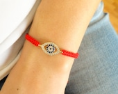 Evil eye bracelet red macrame bracelet, mommy and me, gift for mothers, best friend birthday, turkish jewelry, istanbul bracelet
