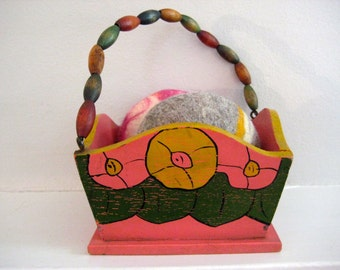 vintage wooden floral basket / beaded handle - folk art -  hand painted - flowers - container - storage - display - home decor - gift