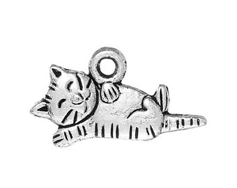5 pieces Antique Silver Napping Cat Charms