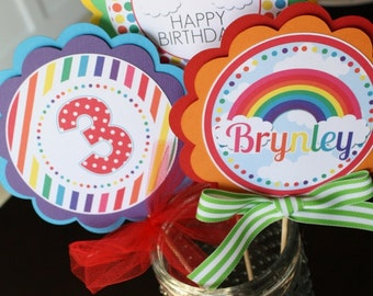 Rainbow Centerpiece Sticks, Rainbow Birthday Party Decor