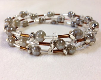 Earthy Glass Bead and Memory Wire Bracelet