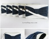 SUPER SALE - Set of 2 Ivory with Navy Bow Clutches - Bridal Clutches, Bridesmaid Wristlet, Wedding Gift,Cosmetic Bag - Made To Order
