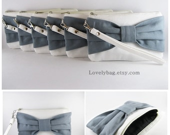 SUPER SALE - Set of 9 Bridesmaids Clutches, Wedding Clutches / Ivory with Gray Bow Clutches - Made To Order
