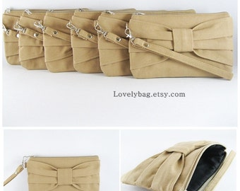 SUPER SALE - Set of 5 Tan Bow Clutches - Bridal Clutches, Bridesmaid Clutch,Bridesmaid Wristlet,Wedding Gift,Zipper Pouch - Made To Order