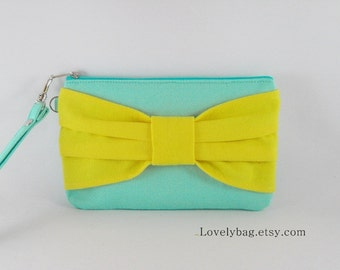 SUPER SALE - Mint with Yellow Bow Clutch - iPhone 5 Wallet, iPhone 5 Wristlet, Cell Phone Wristlet, Camera Bag, Cosmetic Bag, Zipper Pouch