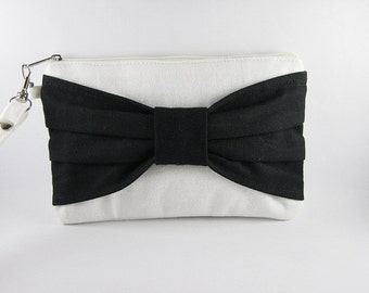 SUPER SALE - Ivory with Black Bow Clutch - iPhone 5 Wallet, iPhone Wristlet,Cell Phone Wristlet,Cosmetic Bag,Zipper Pouch - Made To Order