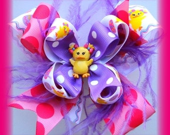 Lucky Ducky OTT Bunny Easter Egg Boutique Bow Ostrich Feathers HairBow Clip Clippie
