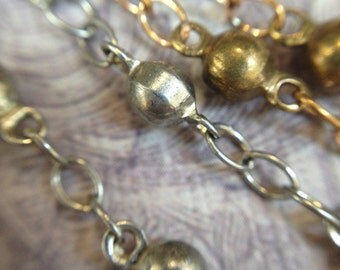 2 FEET of beaded chain, elegant silver or gold ball chain, 3mm ball,unique and perfect for a high fashion look