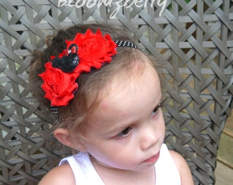 Shabby Rosette with Mickey Headband - Red Color - Red Shabby Rose Headband - Birthday/Party/Gift/Photo Props - Baby to Adult