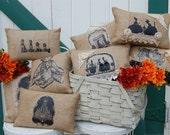 Pillows - Accent Pillows - Burlap Pillows - Throw Pillows - Shabby Chic Decor - Sale