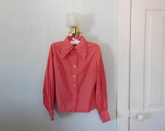 SALE!! 70s Red Patterned Blouse