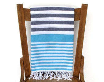 PESHTEMAL Cotton Beach Towel Turkish Towel Turkish Bath Towel Fouta Towel Sarong Pareo Throw Blanket Blue Turquoise Handwoven SEA and SKY
