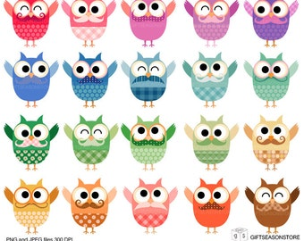Happy owls digital clip art  for Personal and Commercial use - INSTANT DOWNLOAD