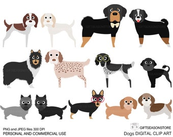 Dogs and Friends digital clip art part 12 for Personal and Commercial use - INSTANT DOWNLOAD