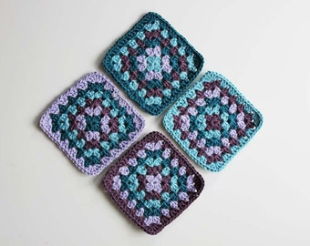 4 Crochet Coasters, Granny Square Design, Home décor, Interior Design, Vintage Style, Cottage Style, Purple, Lavender, Blue