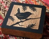 Winter Wren wood block carving (right)
