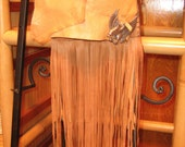 Golden Eagle Crossbody Bag, Fringed Leather handmade purse, in rich glove leathers of Golden Light Brown and Warm Chocolate, Eagle Totem