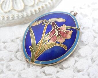Cloisonné pendant necklace vintage enamel jewelry gold trimmed