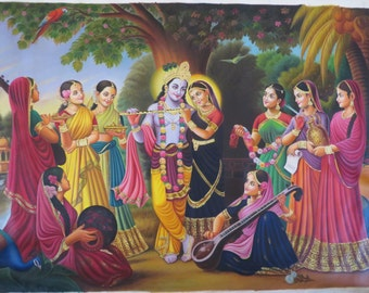 Radha Krishna with Gopis - Canvas Oilpainting - Hand Made