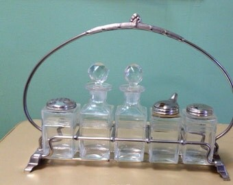 Vintage Antique Hollywood Regency  Silver Condiment Caddy Complete with Bottles at Ageless Alchemy