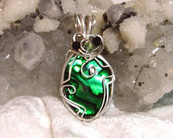 25x18 Green Abalone Pendant, Paua Shell Pendant Solid 935 Sterling Silver Argentium Anti-tarnish Wire Wrapped