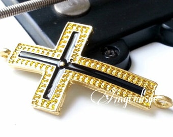 Gold with Black Enamel Cross Connector Sideways Cross Connector, , RC251