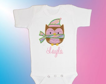 Baby Shirt Bodysuit - Personalized Applique - Winter Owl - Embroidered Short or Long Sleeved