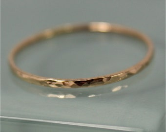 Gold Ring 14k SOLID Gold Yellow Thin 1mm Hammered Stacking Band Faceted Shiny Finish Sustainable Recycled Gold