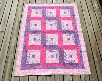 Pink Purple Log Cabin Lap Quilt Ivory Minky Sherpa Backed Teen Blanket