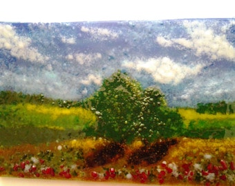 Fused Glass Landscape, Impressionist Frit Glass Painting, Fused Glass Art