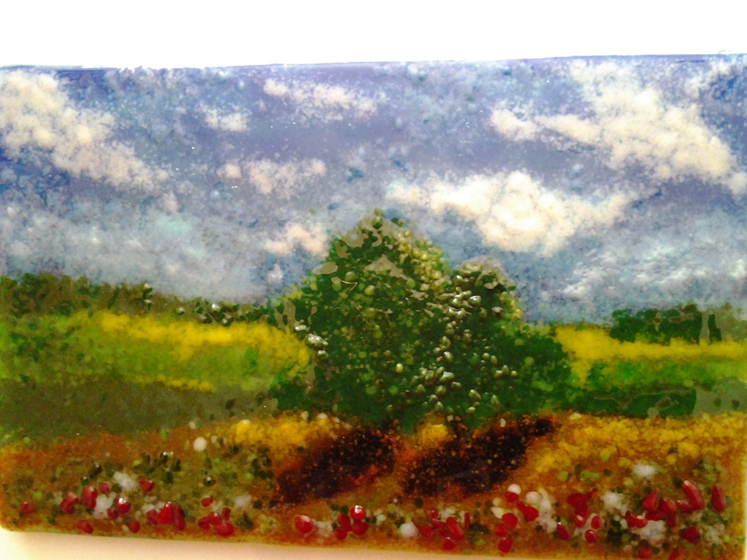 Fused Glass Landscape Impressionist Frit Glass Painting
