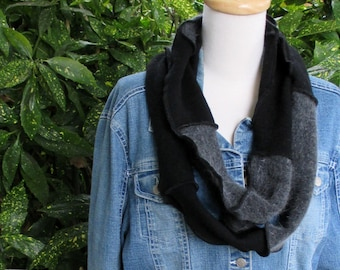 Black Infinity Scarf - Unisex Adult Clothing - Winter Scarf - Handmade Clothing - Loop Scarf - Neck Scarf - Repurposed Clothing