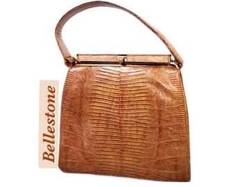 BELLESTONE Caramel Lizard Framed Handbag Mad Men 60's