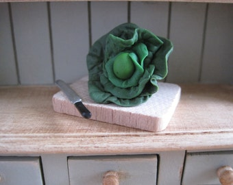 12th Scale Dollhouse Miniature Cabbage on a Chopping Board