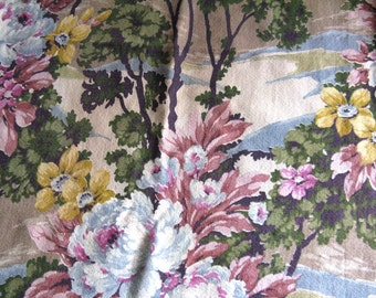 Large Piece of Beautiful Vintage Floral Barkcloth