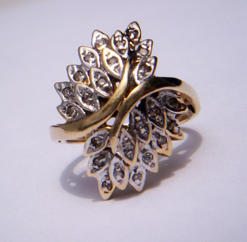 Vintage 14k gold diamond waterfall leaf design bypass by for Waterfall design ring
